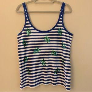 NWT J. Crew Striped Tank with Leaf Sequins